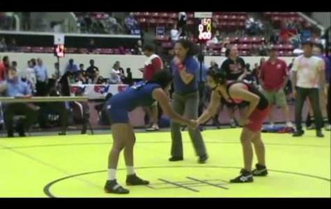 Girls wrestling team in rough water