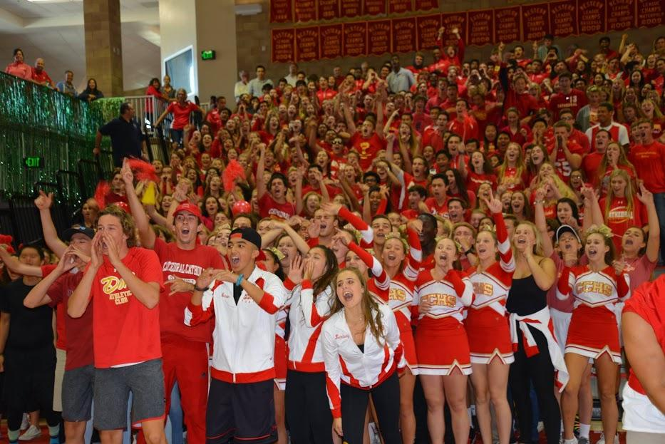 Seniors come together as one unit to participate in the Our House chant at the fall 2016 rally.