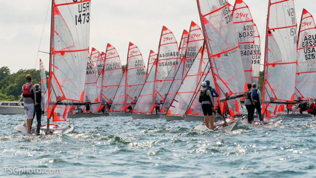 Ryan+Ratliffe+%2717+sails+a+29er+boat+in+a+sail+team+regatta.++He+competes+against+other+high+school+sail+teams+throughout+San+Diego.++All+the+boats+are+pushing+toward+the+finish+line+in+hopes+of+winning+the+regatta.