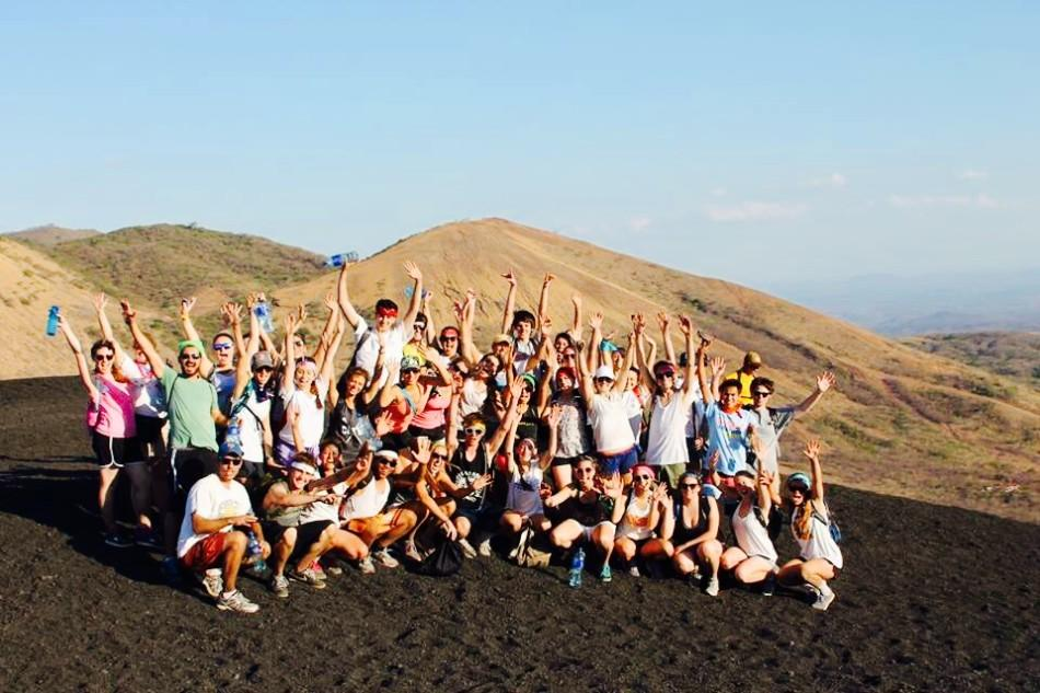 The student missionaries after successfully completing their hike to the top of Cerro Negro