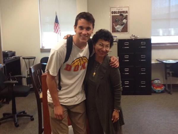 Junior Justin Haupt poses with Sra. Olson on her last day.
