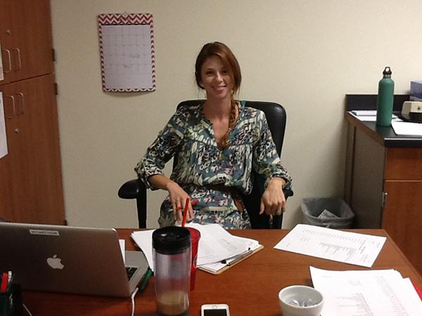 Mrs. Middlebrook in her new teaching pen