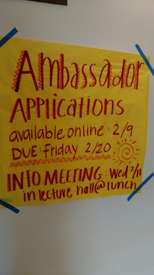 Ambassador applications are due online by February 20th