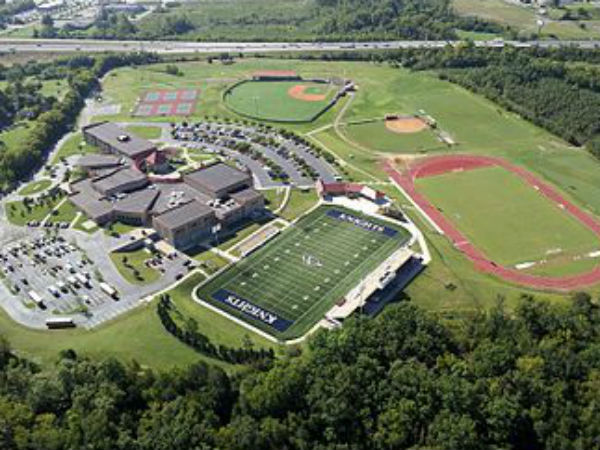 An aerial shot of the campus of Pope John Paul II High School in Hendersonville, Tennessee, the school Mr. Deely will soon be Headmaster of.