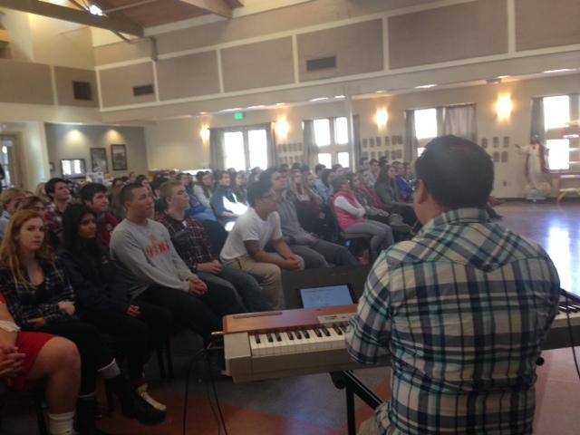 Here, the juniors in the January retreat sit and reflect to music played by Pat Villa