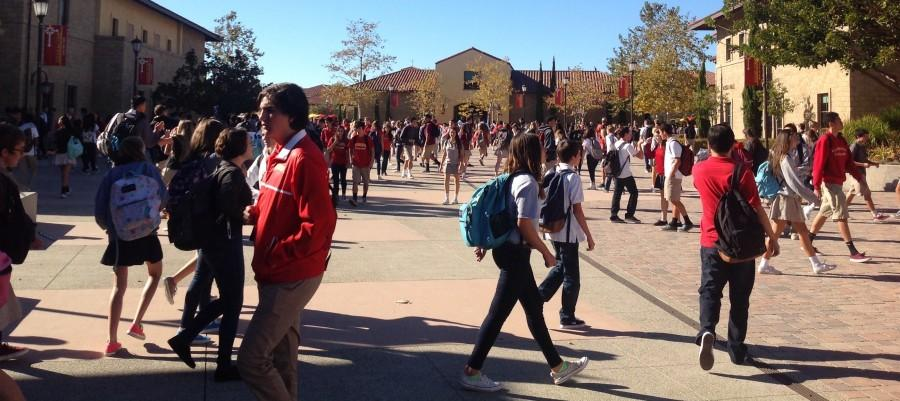Students shown rushing off to their seventh period