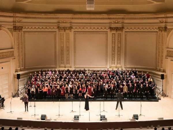 Several choirs, including the St. James choir from San Diego, performed at Carnegie Hall on March 29, 2015.