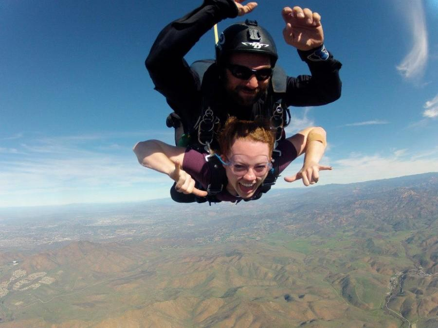When Brenna Chapman turned eighteen, she went skydiving, as shown here.