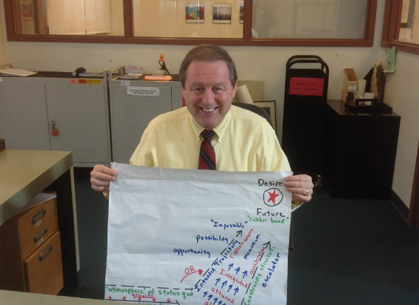 Mr. Gustafson poses with a chart that outlines part of his life philosophy.