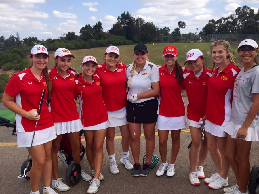 Members of the CCHS girls golf team huddle up prior to day two of the City Conference Tournament at Balboa Park Golf Course. Pictured from left to right are Gabby Przybyszewski, Madisen Miller, Madison Gilbert, Jackie Garcia, Alli Williams, Mia Garcia, Monica Yu, Alexis Yannuzzi, Eliza Lozano. Not pictured is Allison Quach.