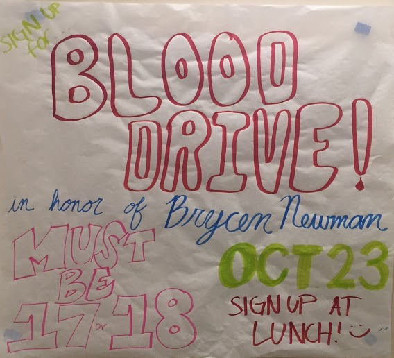 CCHS students who are 17-years-old or older and weigh more than 110 pounds are encouraged to donate blood today during the annual blood drive.