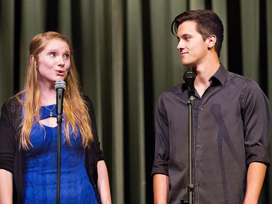 Justin Haupt '15 and Tina LaMar '15 perform in a 2014 Cathedral Cabaret.