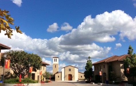 The deserted Cathedral Catholic campus under a blueberry fall sky.