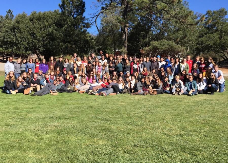 The junior retreat group photo taken at Whispering Winds.