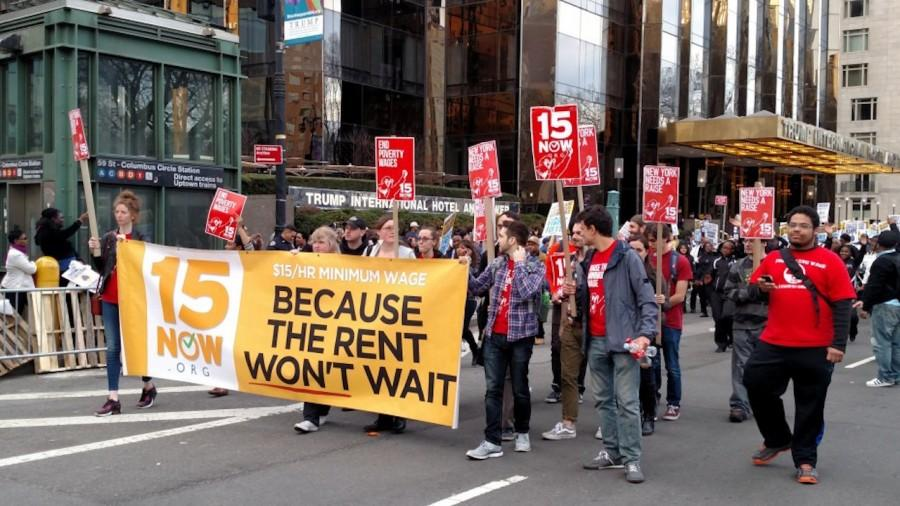 Demonstrators protest the federal minimum wage in New York.