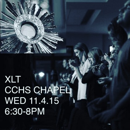 CCHS students are invited to grow in their faith by attending XLT Night tonight in the St. Therese Chapel.