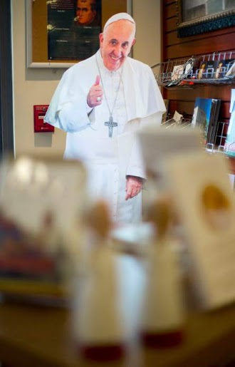 Cutouts of Pope Francis have popped up in gift stores since his United States visit.
