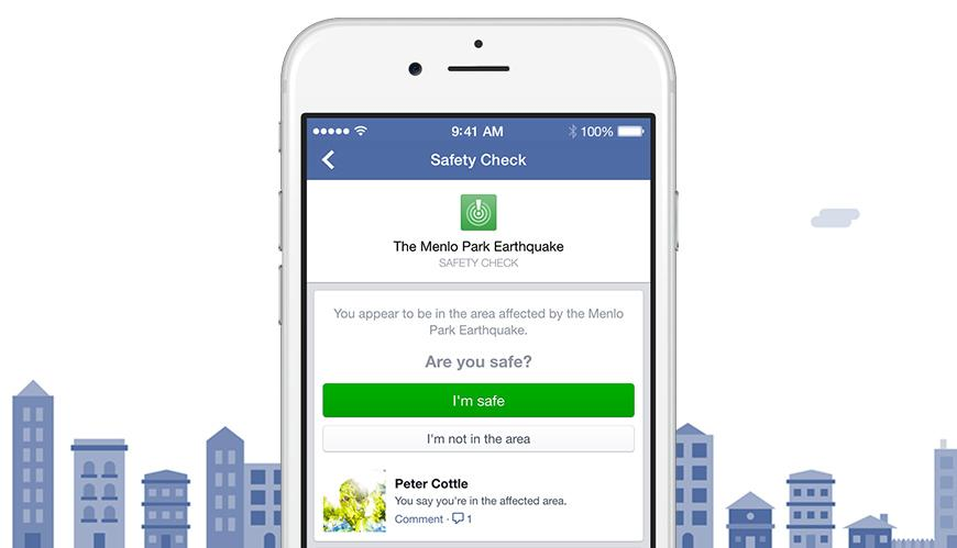 Facebook's Safety Check on the iPhone.
