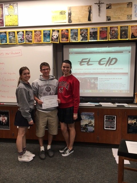 Editor-in-Chief+Celine+Aubry-Dumand+and+Managing+Editor+Sarah+Scherer+recognize+Cole+Parsons+as+El+Cid%27s+November+Writer+of+the+Month.%0A