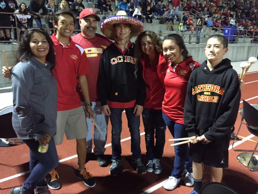 Members of the CCHS Pep Band take a break from their performances at the varsity football game against Carlsbad High.