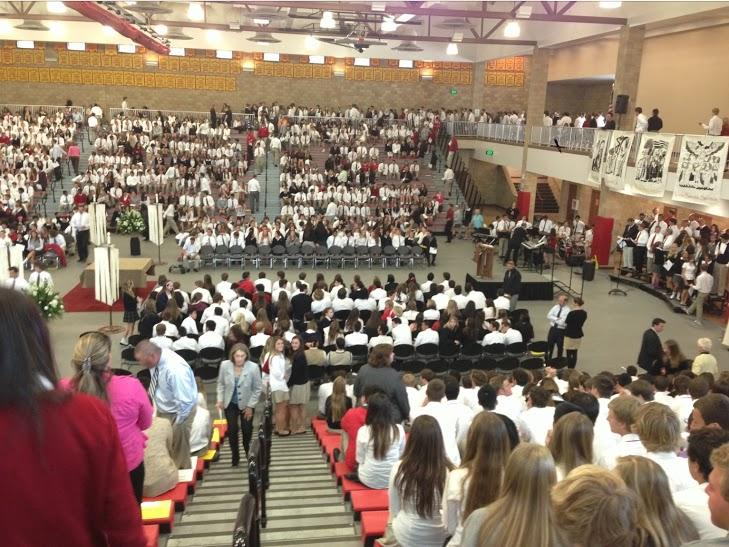 Students celebrate an all-school Mass earlier this year.