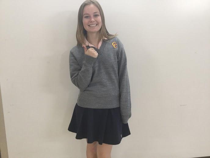 Senior Melissa Vorndran sets an acceptable, positive example of preppy attire.