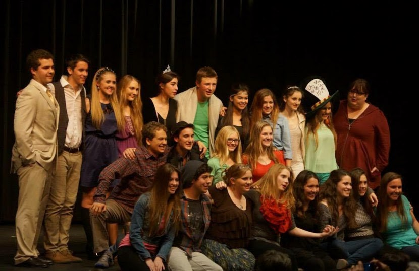 Both the student actors and playwrights come on stage after last year's Playwrights' Festival.