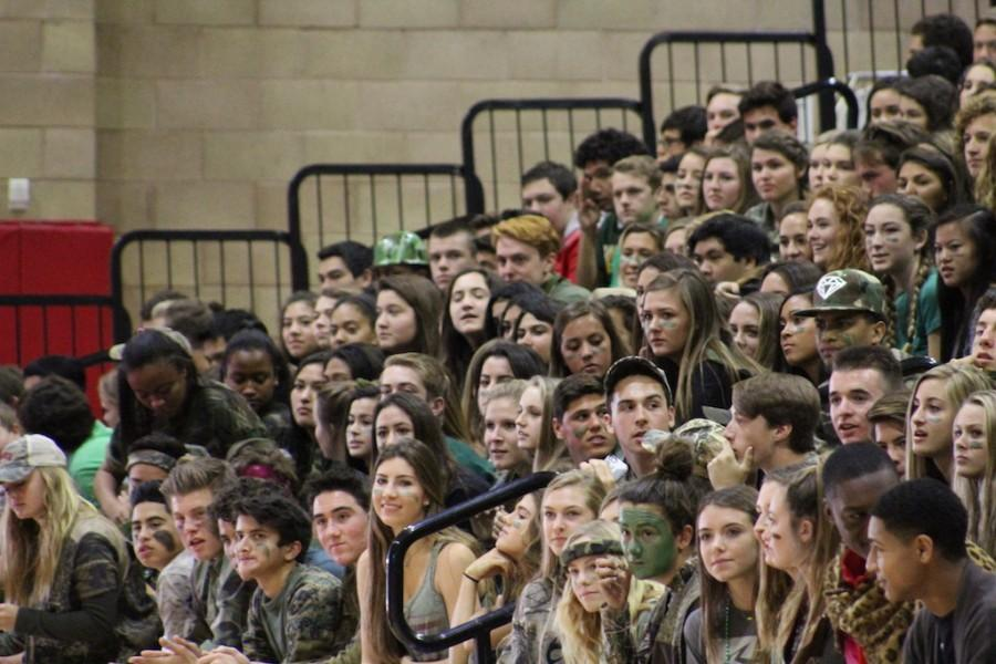 The sophomore class waits in eager anticipation for the beginning of the cheering.