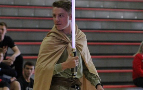 Carter Lynn '16, ASB Commissioner of Athletics, wields a light saber as Luke Skywalker.