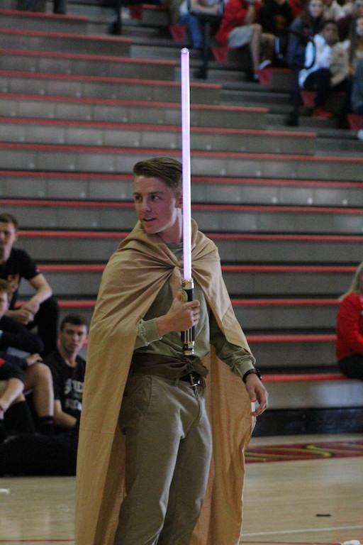 Carter Lynn '16, ASB Commissioner of Athletics, wields a light saber as Luke Skywalker.