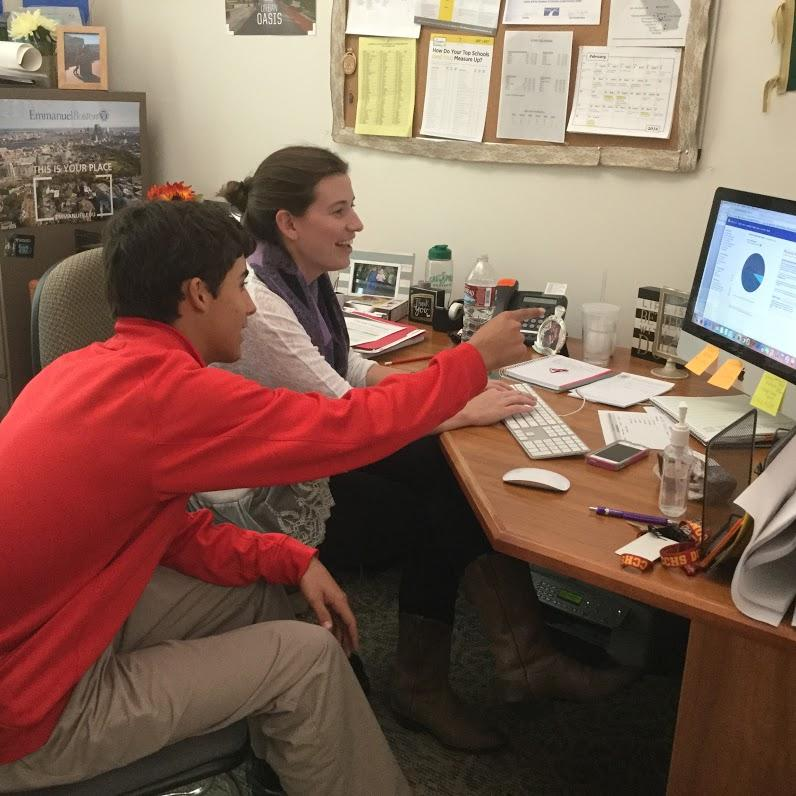 CCHS student Luis Padilla '17 meets with his counselor, Ms. Christine Connolly, to navigate the UC admissions process.