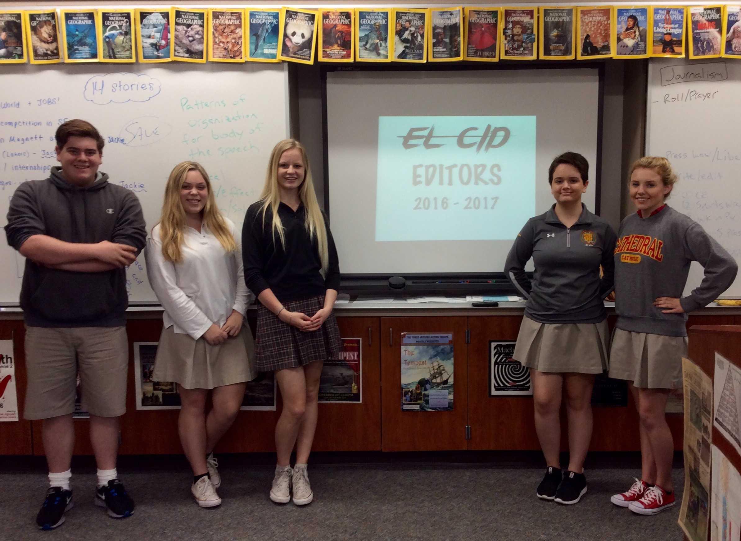 Left to right: Matthew Bailey '17, Sydney Calhoun '17, Kelsey Bacinett '17, Lauryn Sanchez '17, LeeAnne Bates '17.