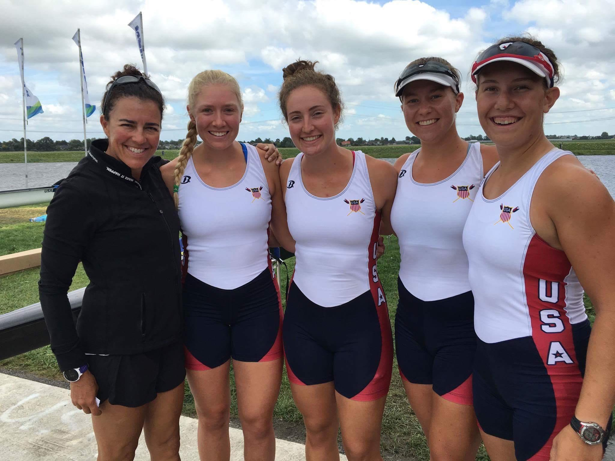 Jenna Van de Grift rows to victory in the 2016 World Rowing Championships.