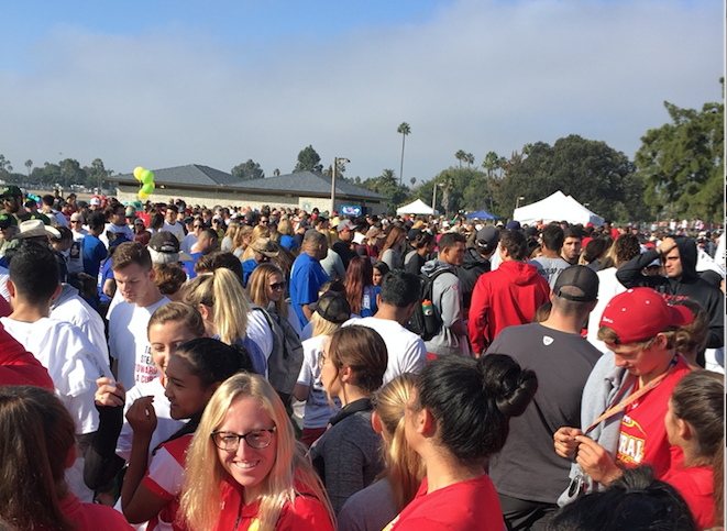 Cathedral Catholic High School students gathered on Sunday to participate in the ALS Association's Walk to Defeat ALS. The CCHS team organized by Lexi Bone '17 raised more than $1,500 for the fight against ALS.