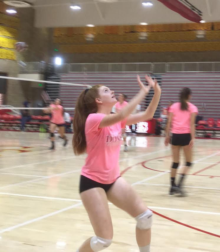 Oliviah Sims '17 warms up before Thursday's game against East Lake. Lady Dons volleyball entered into CIF on Wednesday and successfully moved to the next level of the competition.