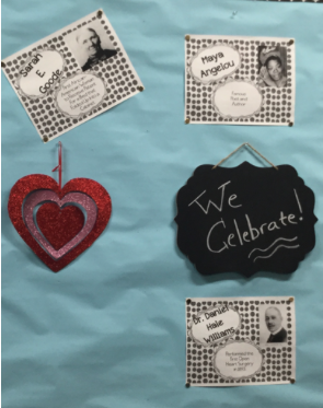 CCHS English teacher Dr. Melissa Williams celebrates Black History month by posting pictures on her classroom wall of influential Black Americans.