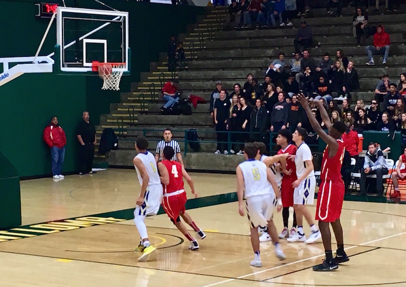Student-athlete Brandon McCoy '17 buckets a free throw for Cathedral Catholic High School. However, his efforts were not enough to overcome  Saints, which won 77-45 at Point Loma Nazarene University.