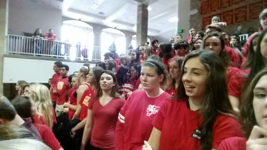Seniors don red and black attire for Friday's winter rally, which celebrated sports triumphs and school spirit.