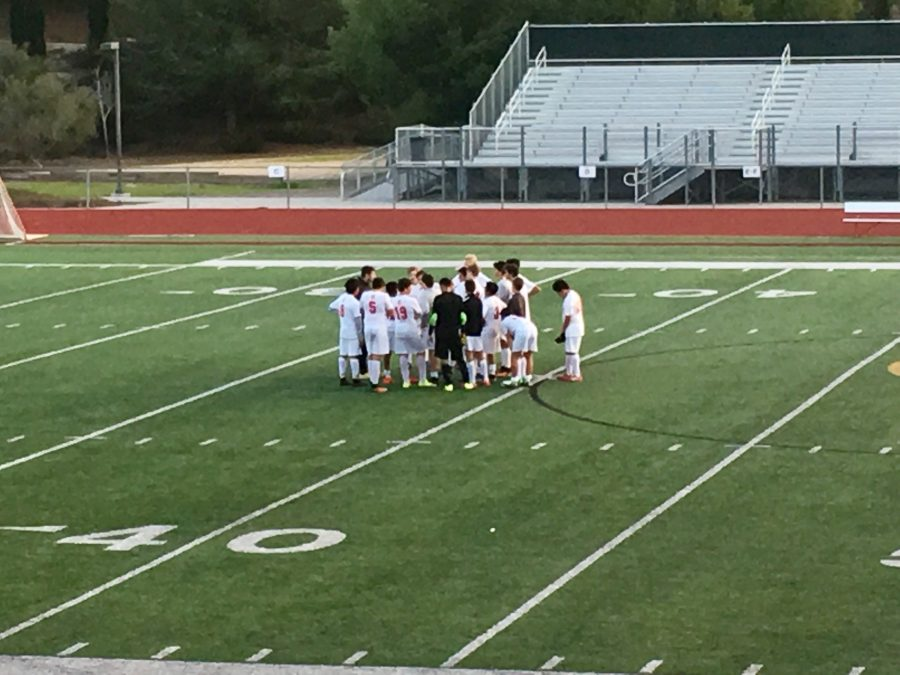 The CCHS freshman soccer team regroups after falling short 0-1 Friday against Sage Creek High School.