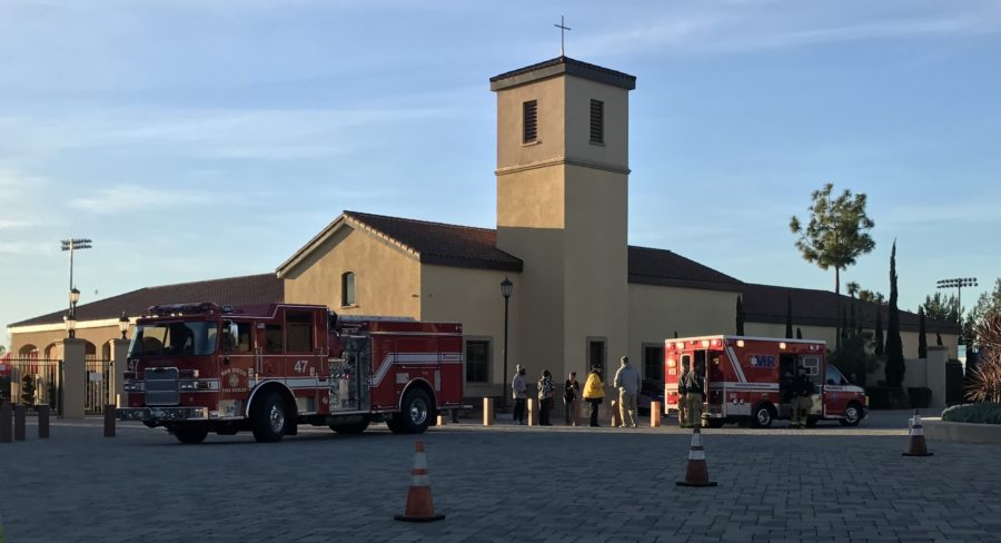 A fire truck and an ambulance line in front of the Juan Diego Center early Wednesday morning after a student sliced their finger open in the front office.
