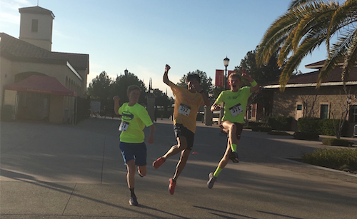 Neon attire gave CCHS students Michael Robinson '17, Dylan Gallego '17, and Daniel Robinson '17 an opportunity to shine as the sun set, supporting Hispanic Cultural Awareness Club's 5th annual Dons Dash, a 5K held in honor of CCHS families and alumni.