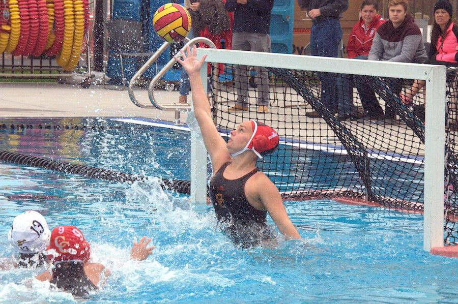 Hannah Edwards '17 blocks an attempted shot in a recent game. She will attend Hartwick College in the fall on a water polo scholarship.
