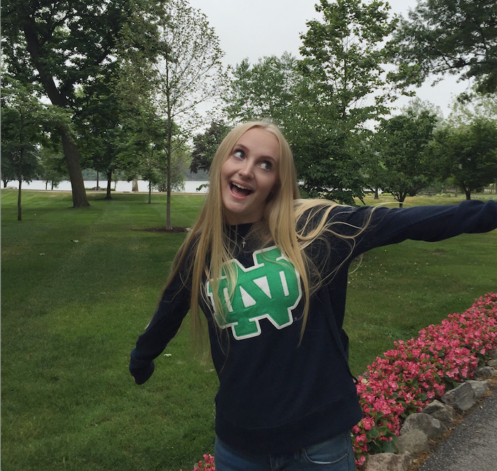 CCHS senior Sarah Lackey '17 flaunts her Fighting Irish pride on a college visit to the University of Notre Dame.