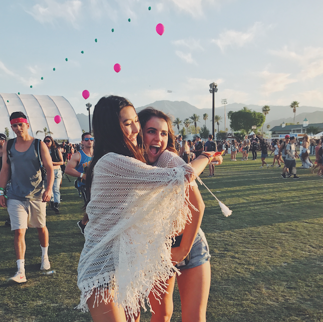 Dancing around Indio California, El Cid Social Media Manager Claire Coll' 18 and friend Vanessa Lee' 18 enjoy the music and artwork showcased at the Coachella Festival.