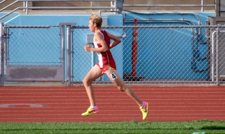 At the University City High School Tri-Meet with Point Loma High School, Cathedral Catholic High School distance runner Thomas Hofig '20 focuses his energy on the track to work toward a personal record on Thursday.