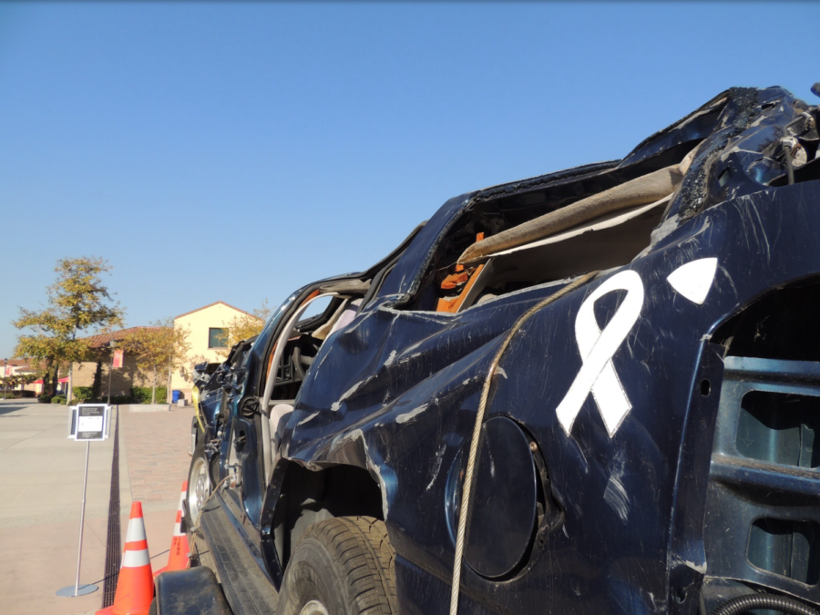 Cathedral Catholic High School has decided to raise awareness for drunk driving by placing this totaled car in the middle of the quad. This car was destroyed as a result of a drunk driver.