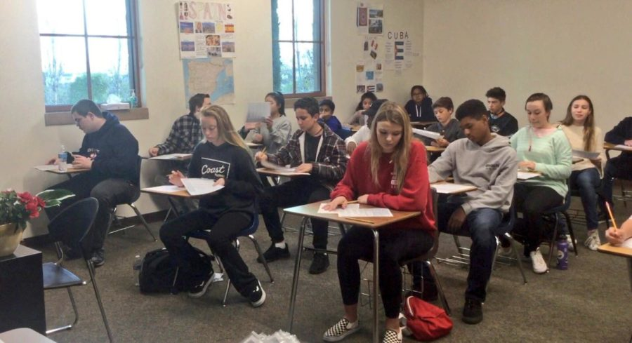 Eighth graders take the High School Placement test last Saturday.