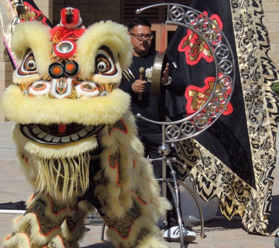 The San Diego Legendary Lion Dance Association performs a traditional Chinese lion dance during CCHS's celebration of Chinese New Year during lunch on Thursday