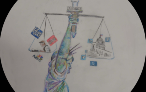 The Statue of Liberty flame, which symbolizes justice and liberty, seems to be unlit due to the Fourth Estate's journalistic malpractice and other parties' media manipulation.