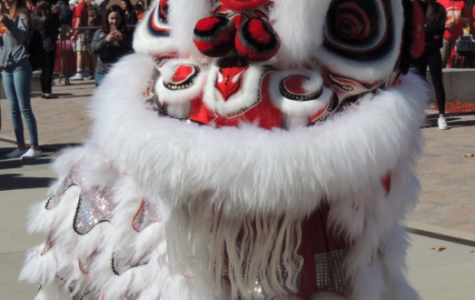 The San Diego Legendary Lion Dance Association performs during lunch in celebration of Chinese New Year.